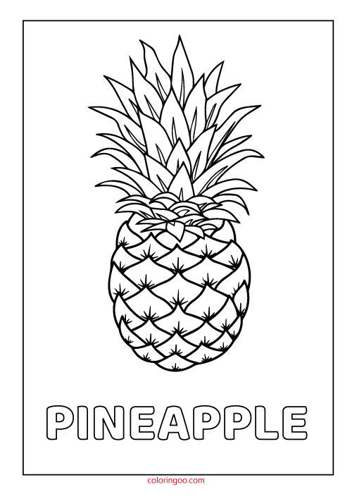 pineapple printable coloring drawing pages for kids