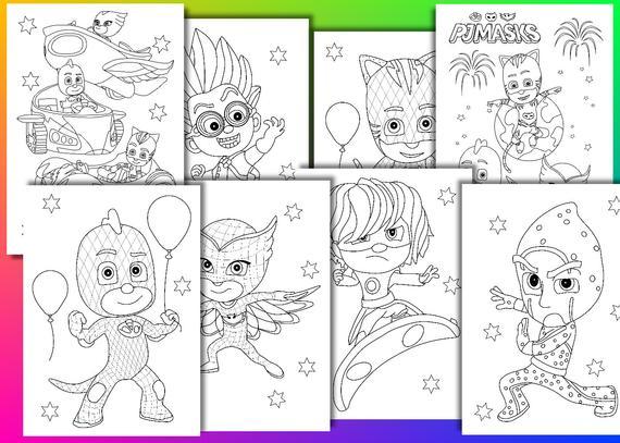 pj masks coloring pages pj masks birthday party favor instant download pdf file