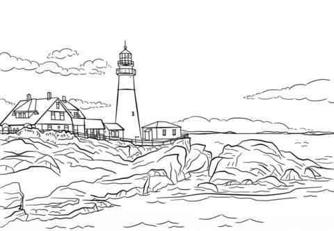 portland lighthouse maine portland head light coloring