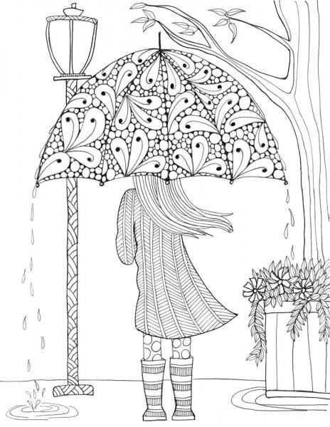 prettiest umbrella girl coloring page coloring pages for