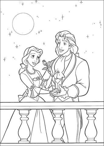 prince and princess belle coloring page free printable