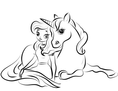 princess with unicorn coloring page free printable
