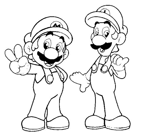 print and coloring page super mario and luigi for kids