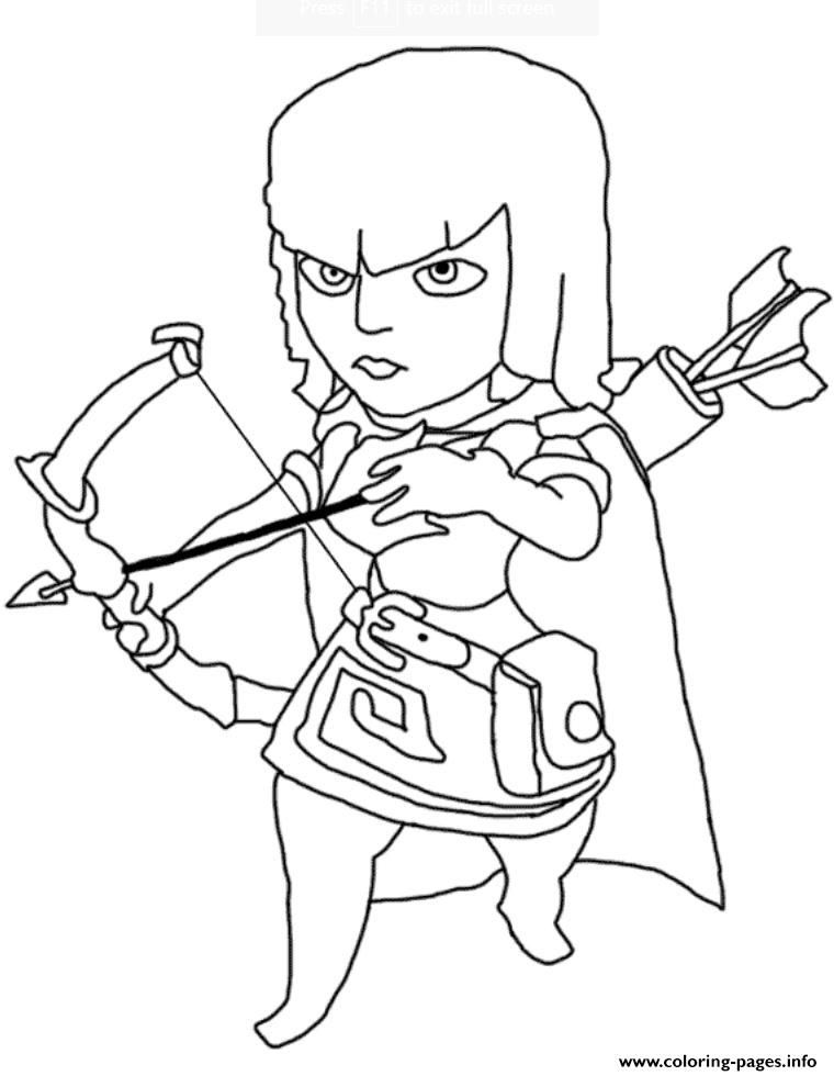 print archer clash of clans coloring pages desenhos clash
