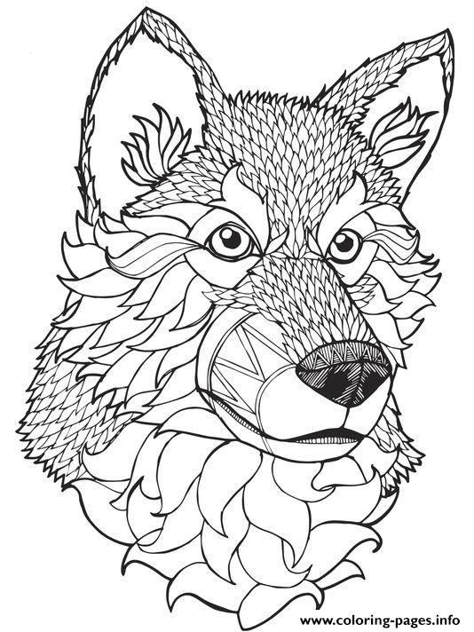 print high quality wolf mandala adult coloring pages