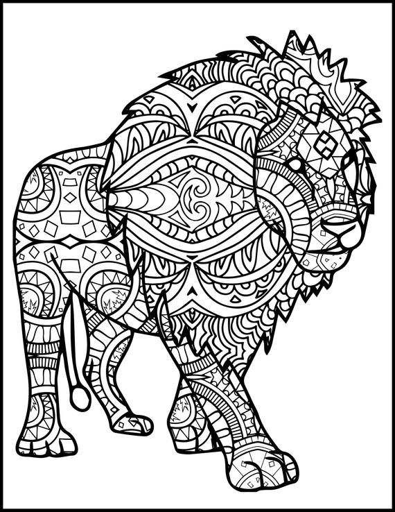 printable adult coloring page animal coloring page lion coloring page for adults gift coloring page for lion lovers print your own