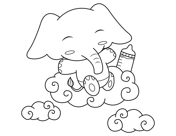 printable ba elephant coloring page