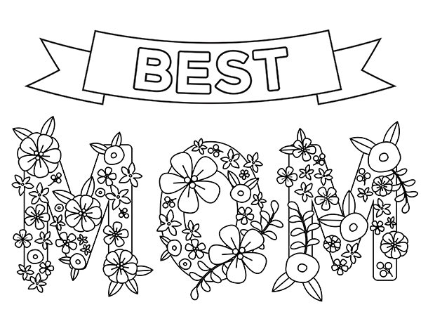 printable best mom coloring page