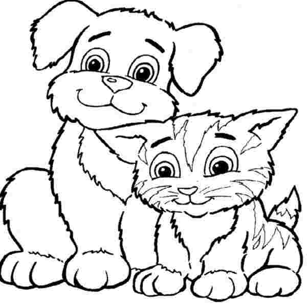 printable coloring pages cat and dog color dogs and cats