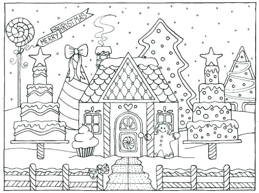 printable coloring pages gingerbread house pusat hobi