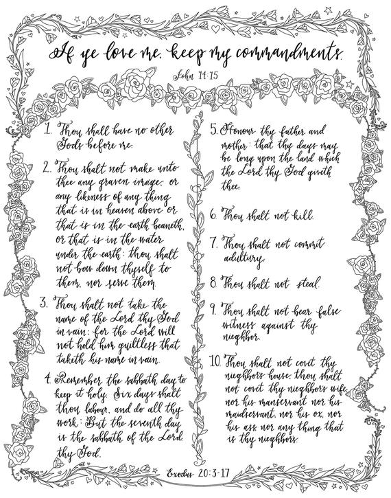 printable coloring pages the ten commandments