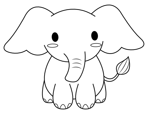 printable cute elephant coloring page