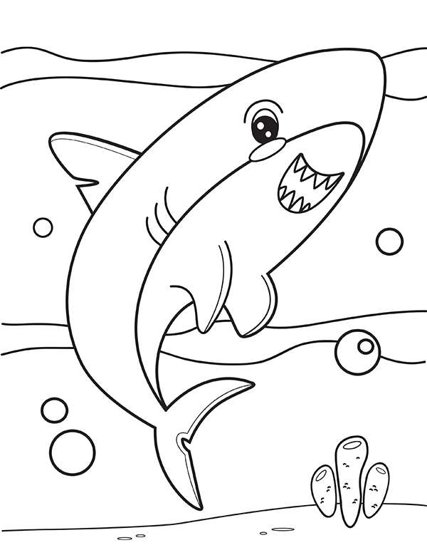 printable cute shark coloring page
