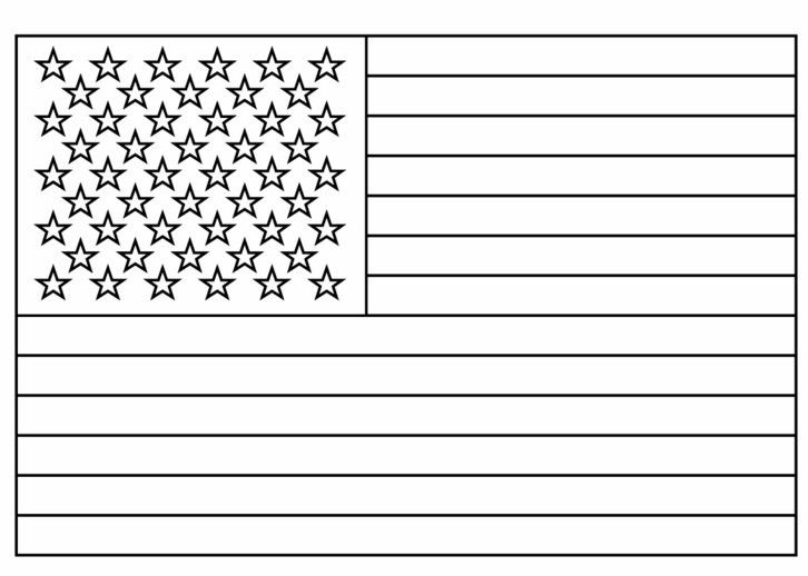 printable flag coloring page line drawing fo an american