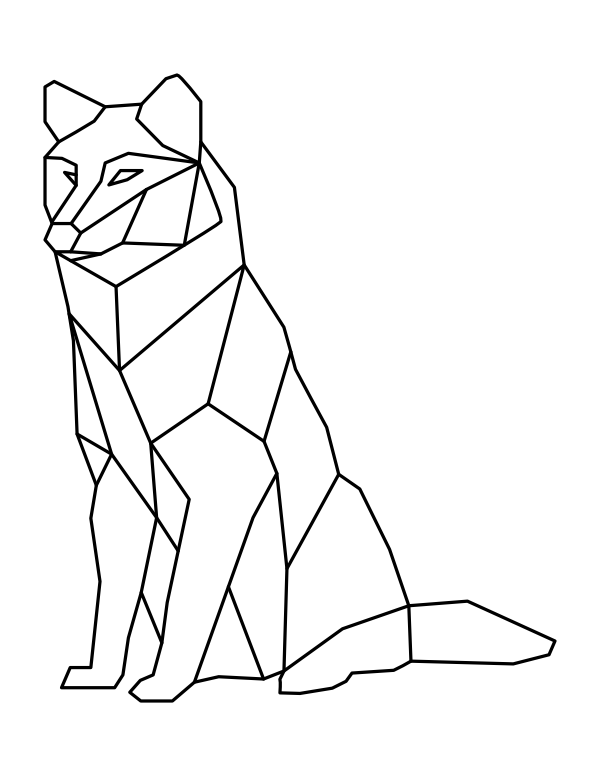 printable geometric sitting wolf coloring page