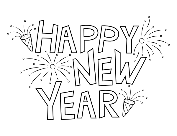 printable happy new year coloring page