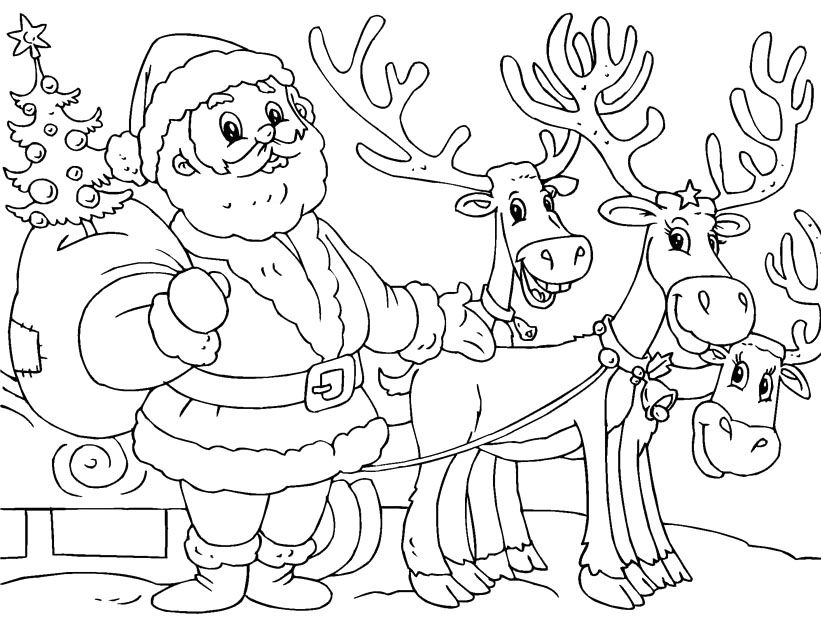 printable santa and reindeer coloring page christmas