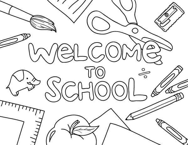 printable welcome to school coloring page