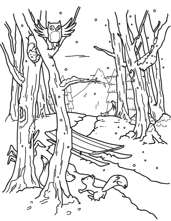 printable winter forest coloring page