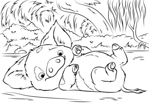 pua pet pig from moana coloring page free printable