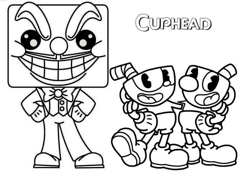punchy cuphead coloring pages printable chavez blog