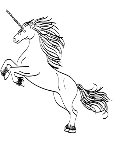rearing unicorn coloring page free printable coloring pages