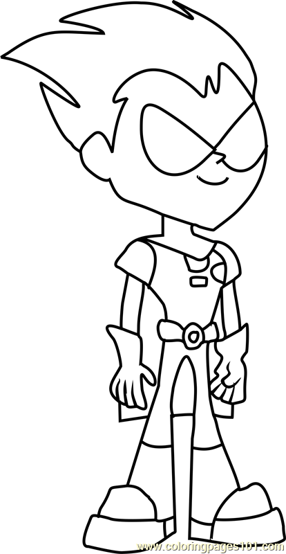 robin coloring page free teen titans go coloring pages