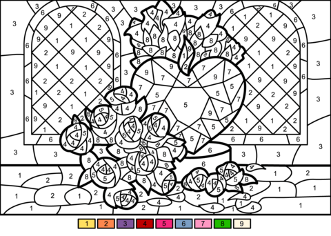 roses and heart color number free printable coloring pages