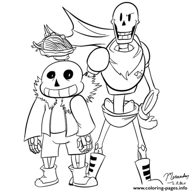 sans and papyrus dragonfire1000 coloring pages printable