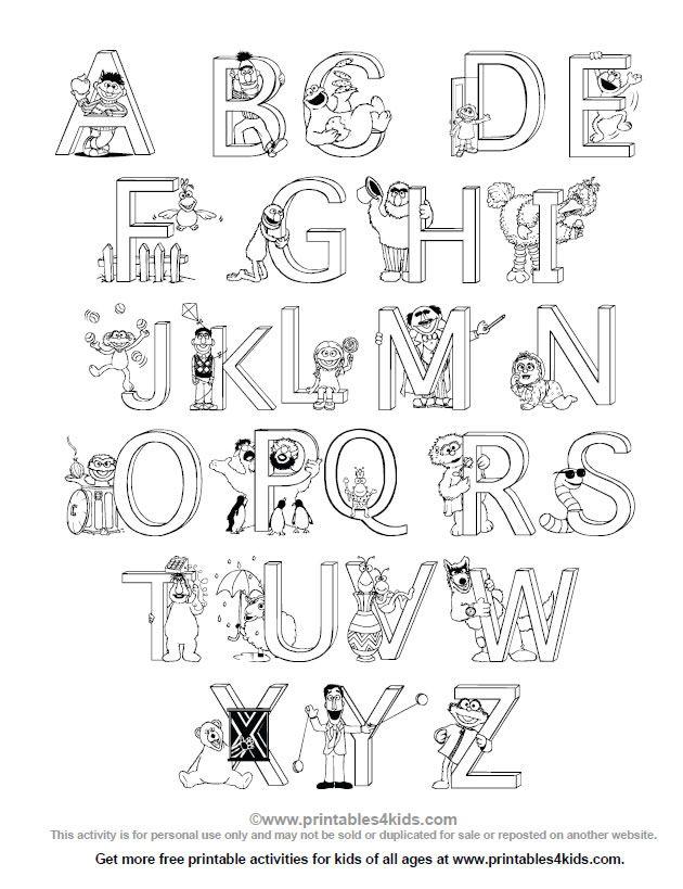 sesame street alphabet coloring page printables for kids