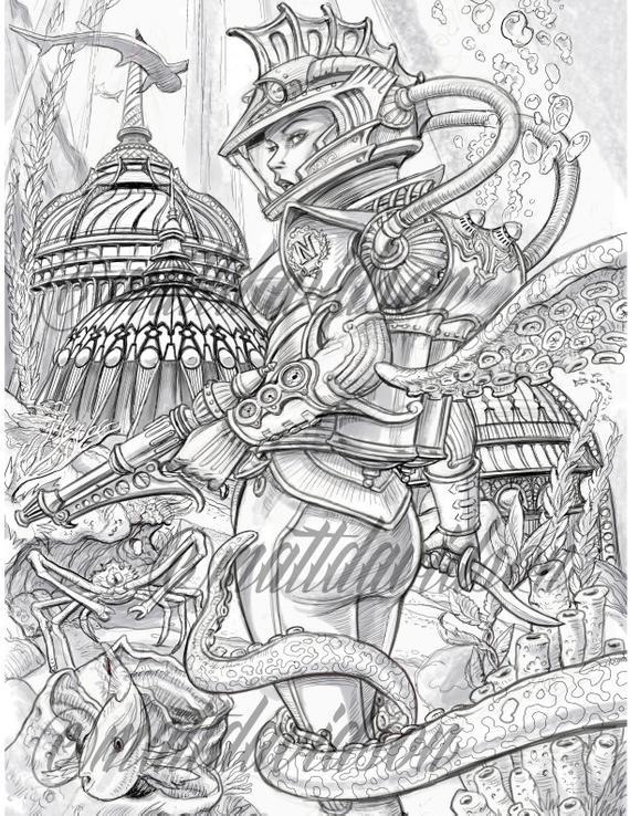 set of three steampunk coloring pages adult coloring sky pirate captain nemora eliza derringdo fantasy coloring printable download