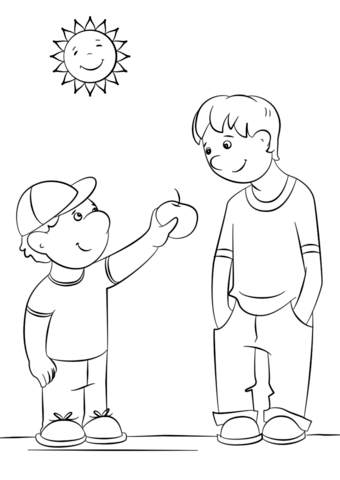 showing kindness coloring page free printable coloring pages
