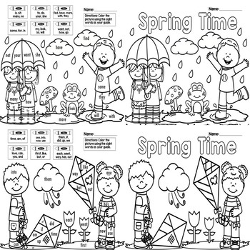 sight word coloring pages for spring 8 pages