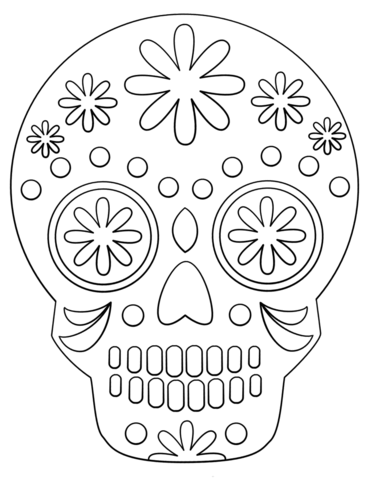 simple sugar skull fargelegge free printable coloring pages
