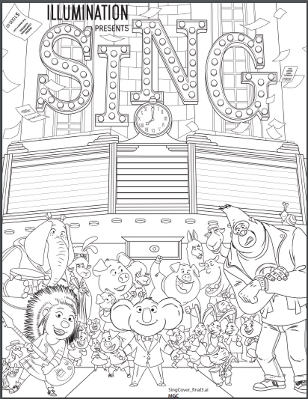 Sing Coloring Pages Collection Whitesbelfast