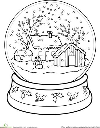 snow globe coloring page weihnachtsmalvorlagen