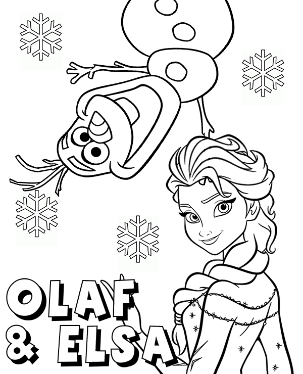 snowman olaf and princess elsa coloring page sheet