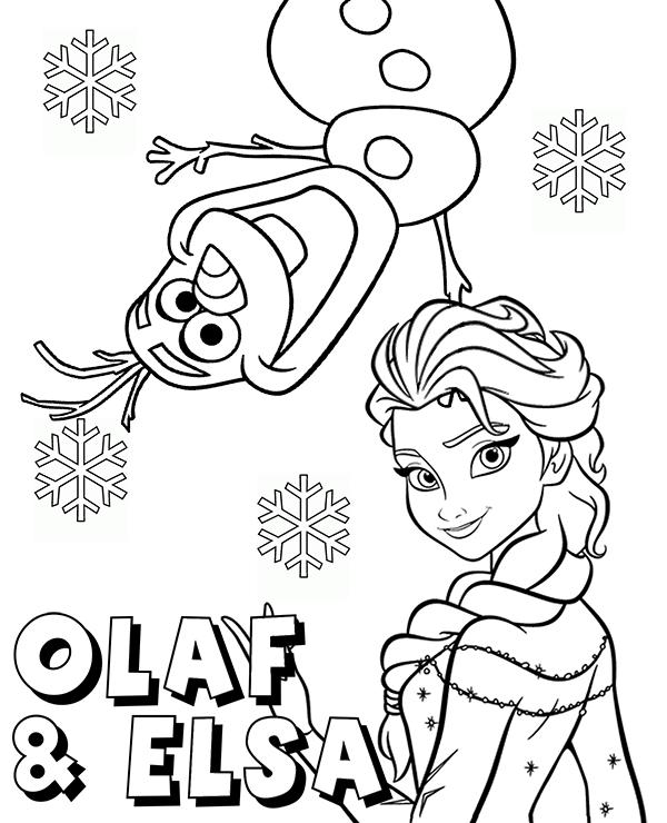 snowman olaf and princess elsa coloring page sheet