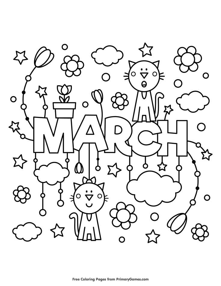 spring coloring pages ebook march aaa bearbeiten