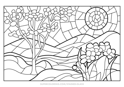 spring stained glass coloring page free printable coloring