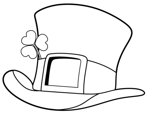 st patrick day top hat coloring page free printable
