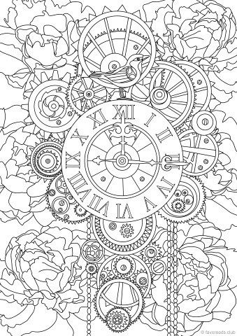 steampunk clock coloring books coloring book pages