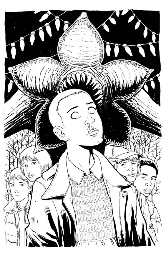 stranger things coloring page coloring home