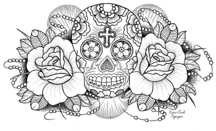 sugar skull coloring pages for adults at getdrawings
