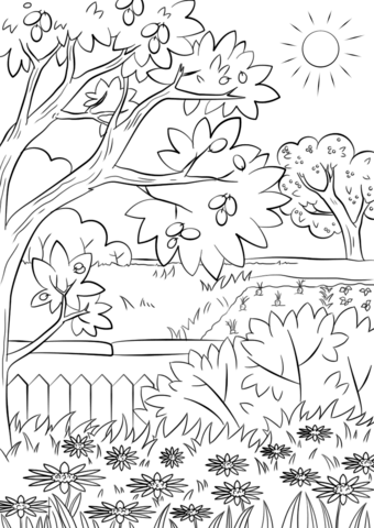 summer garden coloring page free printable coloring pages