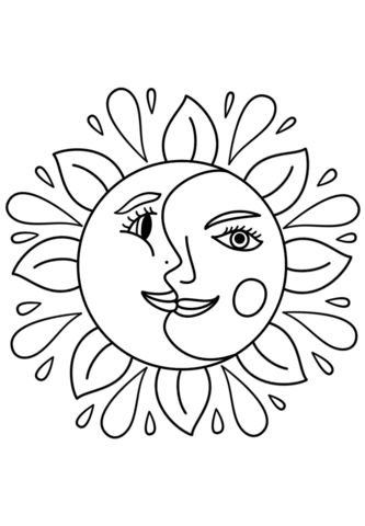 sun coloring pages easy simple sun and rays kindergarten