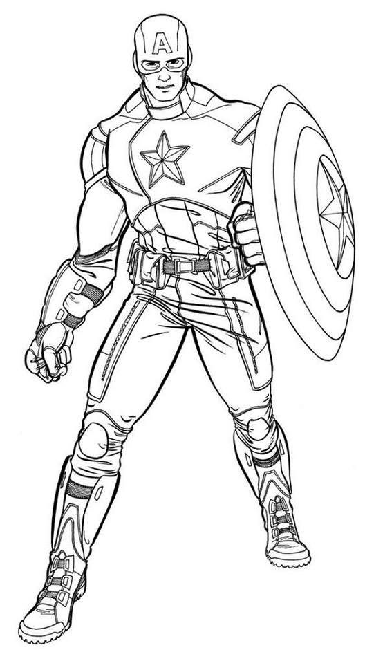 super hero captain america coloring page free printable