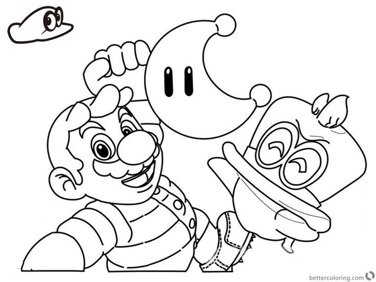 super mario odyssey coloring pages line drawing printable