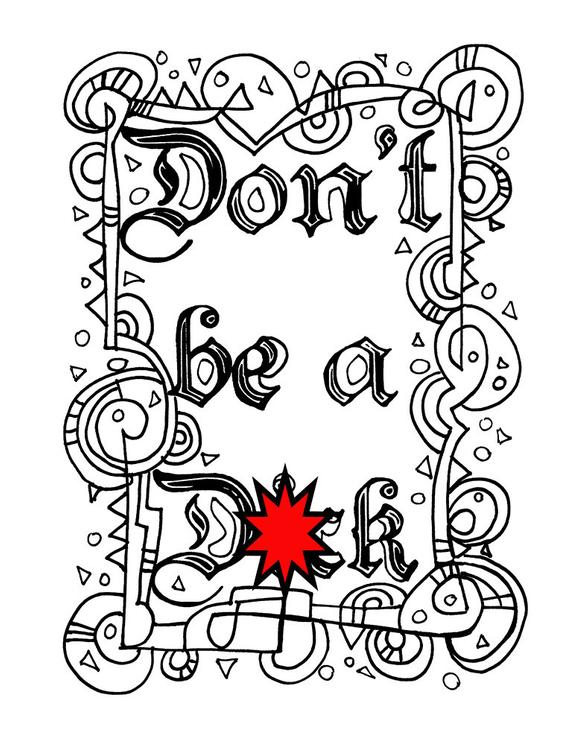swear word coloring sheet page printable dont dck download book curse word cuss maturepage adult colouring swear coloring sheet