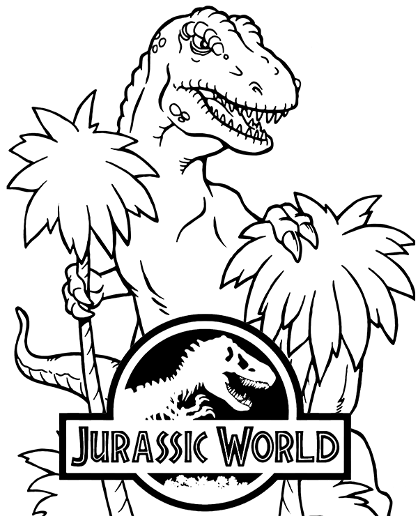 t rex from jurassic world on fre coloring page